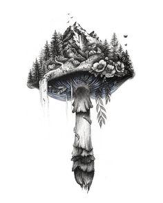 Cool Art Drawings, Art Drawings Sketches, Tattoo Drawings, Ink Illustrations, Tattoo Sketches, Cute Tattoos, Body Art Tattoos, Tatoos, Mushroom Tattoos