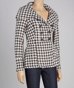 Brown & White Houndstooth Envelope Collar Peacoat