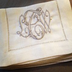 ⌖ Linen & Lace Luxuries ⌖   antique embroidered linen place mats with monogram