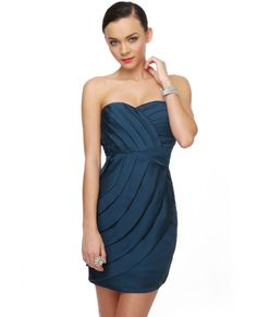 elegant blue clothes for women | ... 10: Jess in a Blue Sequin Strapless Drape Dress | New Girl Fashion