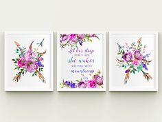 Tribal floral girl nursery printable wall art set, let her sleep quote arrows and feathers nursery w Nursery Wall Decor, Girl Nursery, Girl Room, Grey Colour Scheme Bedroom, Covered Patio Design, Baby Mine, Rose Art, Wall Art Sets, Diy For Kids