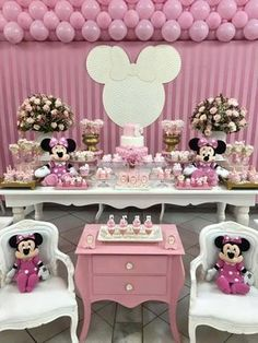 Minnie y mickey cake y decoracion Baby Girl Birthday Cake, 1st Birthday Party For Girls, Girl Birthday Themes, Minnie Birthday, Birthday Decorations, Birthday Kek, Minie Mouse Party, Minnie Mouse Rosa, Minnie Mouse Theme Party