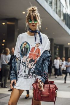 street style 2017 fashion urban sporty chic street style fashion denim jacket bandana band t-shirt dress