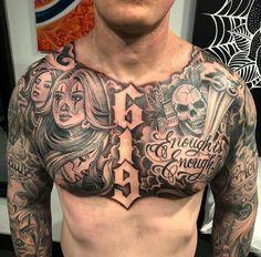 Most Popular Ideas old school tattoo sleeve men chest piece Full Chest Tattoos, Chest Tattoos For Women, Chest Piece Tattoos, Pieces Tattoo, Back Piece Tattoo Men, Tattoo Sleeve Designs, Tattoo Designs Men, Sleeve Tattoos, Chicanas Tattoo