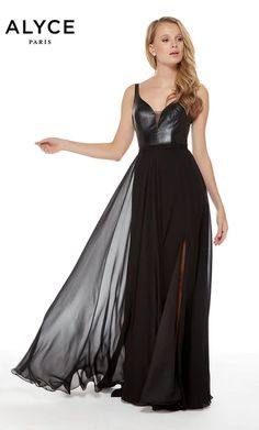 Alyce Paris - 60242 Leather Deep V-neck Chiffon A-line Dress Pagent Dresses, Evening Dresses, Wedding Dress Shopping, Bridal Wedding Dresses, Open Back Prom Dresses, Formal Dresses, Flowy Gown, Mother Of The Bride Gown, Perfect Wedding Dress