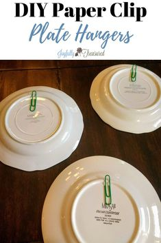 How to Hang Plates on the Wall, Free and Easy DIY Farmhouse Decor Hack - Joyfully Treasured : How to hang plates on the wall, Make simple DIY plate hangers with paper clips, felt, and hot glue Hang Plates On Wall, Plate Wall Decor, Diy Wall Decor, Diy Home Decor, Garden Wallpaper, Wall Wallpaper, Plate Hangers, Make It Simple, Simple Diy