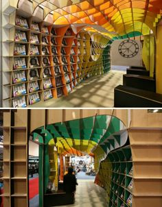 ceiling that becomes a wall which becomes shelves.... how resourceful!