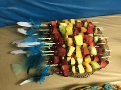 Fruit party kabobs feather/arrow Young Wild Free, Wild And Free, 10th Birthday Parties, Fruit Party, Kabobs, Gender Reveal, Arrows, Aztec, Feather