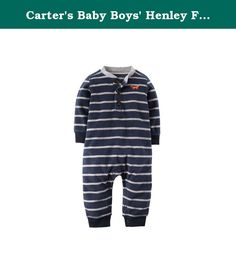 Carters Baby Boys Henley Fleece Jumpsuit (18 Months, Navy Stripe). Henley styling and classic stripes on super soft fleece make this jumpsuit a cute and easy outfit for your baby boy. Nickel-free snaps at the legs Ribbed cuffs.