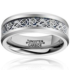 """HSG Tungsten Men Rings 8MM Blue Plated Celtic Dragon Inlay Polished Wedding Band Size 7-13. Good news ! This kinds of ring in promotion now , you can buy any size of this ring then get one free size 7 ring ( ASIN : B01DK19YB6) , to get this gift just need you choose the most suitable size at first , then drop down to the """" Special Offers and Product Promotions """", and Add both to cart , finally enter code DZDXKYXE at checkout. Main material:Tungsten Carbide.30 Days Money Back Guarantee or..."""