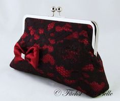 Black lace clutch with red satin inlay and ♥ by VersabellaBridals, $75.00