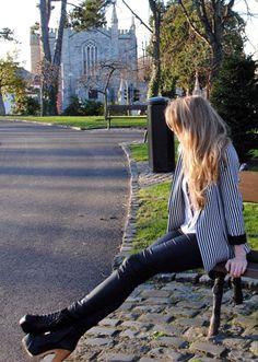 River Island Striped Blazer, Leather Leggings, Lita Boots, Dublin Church, Blog Style Whisty
