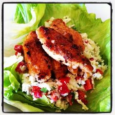 Clean eating KFC inspired chicken with an avocado infused cauliflower raw salad