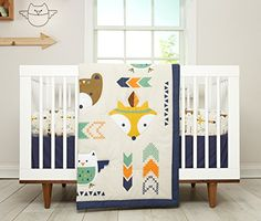 #kidsstore This southwestern-inspired set #includes a comforter featuring native bear, fox with appliqued feather, and owls with appliqued wings as well as geome...