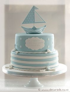 Baby Boy Baptism Cale Nautical Theme New Ideas Christening Cake Boy, Baby Boy Baptism, Baby Baby, Baby Shower Cakes, Baby Boy Shower, First Birthday Gifts Girl, Nautical Cake, Nautical Theme, Baby Boy Themes