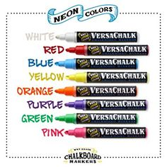 Amazon.com : Chalk Markers for Chalkboard by VersaChalk (Reversible Tip, Neon) - Erasable Dustless Water-Based Non-Toxic Liquid Wet Erase Pens : Office Products