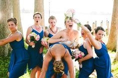 Silly bridesmaids in blue   Lydia & Ross' personalized, St. Mary's College Maryland wedding   Images: Porter Watkins Photography   #marylandwedding #simplewedding