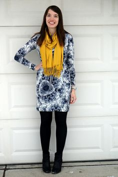 New Game Show: Name That Print! | Style On Target | gray print dress yellow scarf
