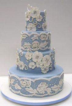 Wedding Cake~ Wedgewood Blue Wedding Cake with White Lace by Colettes Cakes, 4 tier, round Beautiful Wedding Cakes, Gorgeous Cakes, Pretty Cakes, Amazing Cakes, Unique Cakes, Elegant Cakes, Creative Cakes, Fondant Cakes, Cupcake Cakes