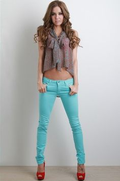 I love that I pin all these great colorful jeans and I don't even know how I would look in them! HA!