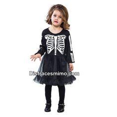 DisfracesMimo, disfraz esqueleto para niñas 3 a 4 años.Este original disfraz de Esqueleto para niña aterrarás a los asistentes a Fiestas de disfraces, halloween o Carnavales. Este disfraz es ideal para tus fiestas temáticas de disfraces de miedo y terro para niñas.