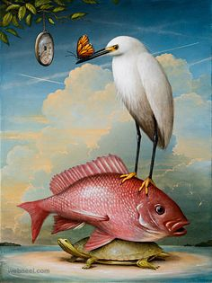 fish surreal painting by kevin sloan