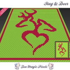 Stag and Deer crochet blanket pattern; knitting, cross stitch graph; pdf…