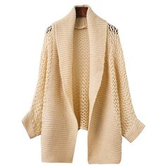 Open Knit Batwing Cardigan (389.580 IDR) ❤ liked on Polyvore featuring tops, cardigans, open knit top, cardigan top, beige cardigan, open stitch cardigan and batwing tops