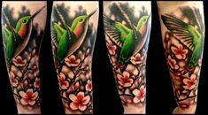 Realistic+Hummingbird+Tattoos | Arm Flower Hummingbird Realistic Tattoo by No Remors Tattoo