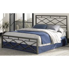 Fashion Bed Group B4116 Alpine Snap Rustic Pewter Bed with Geometric Panel Design and Folding Metal Side Rails