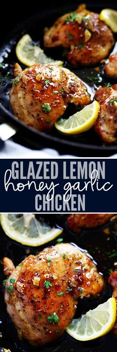 Glazed Lemon Honey Garlic Chicken is tender and juicy chicken cooked in the skillet topped the most amazing lemon honey garlic glaze! You are going to love this simple but full of flavor 30 minute meal!