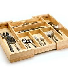 Just Right    If you have drawers that are custom sizes, look for adjustable silverware organizers. The type shown here has parts that slide together. You also can find drawer dividers made of plastic and cut them to size with scissors.