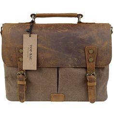 TOP-BAG® Men Women s Vintage Canvas Leather Schoolbag Shoulder Crossbody Messenger  Bag, 3a13e9c9bf