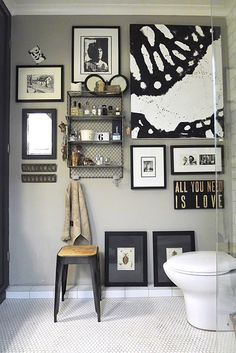 From No. 19 blog - grey walls, white floor and black and white prints in bathroom