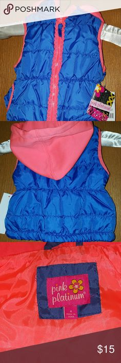 Pink with florence trim puffer vest . Love the blue with florence trim. Zipper front with a hoodie. Adorable puffer vest. Pink Platinum Jackets & Coats Puffers