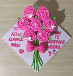 Cupcakes dia de la madre. Cupcakes cumpleaños mamá. Cupcakes rosas. Cupcakes ramillete de flores