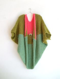 MISKI one-size knit mohair sweater in sea green + grass green + hot pink