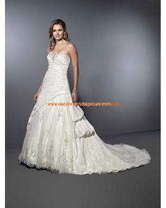Schönste Maßgeschneiderte Brautkleider luxuriös aus Taft mit Schleppe Applikation