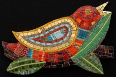 Red Bird | Irina Charny Mosaics-maybe with combo of copper foil with clear glass, then transparent mozaic!  Drill a hole in glass prior to mozaic and hang in a tree:)