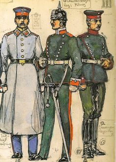 """Bavaria; L to R  2nd Infantry Regiment """"Crown Prince2, 1 year volunteer, undress with greatcoat. 4th Cheveau-Legers """"Konig"""",Corporal,  dismounted Service Dress  & 2nd Cheveau-Legers """"Taxis"""", Trooper Mounted Service Dress with feldmutz"""