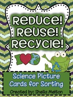 """This includes 24 picture cards - 6 cards of each of the following recyclable items: Metal, Plastic, Paper and Rubber. The entire set comes with and without labels for a total of 48 cards.The pictures used are real-life pictures. I use these cards during our science unit,""""Reduce, Reuse, Recycle."""" Also includes recording sheets making these cards perfect for your science center!"""