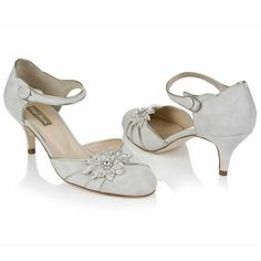 Rachael Simpson - Amelia - Ivory Suede & Champagne Leather with embroidered trim with diamante £165.00