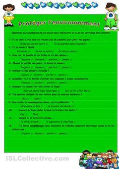 Voici un questionnaire pour guider les élèves dans leur réflexion sur la protection de l'environnement. Suit une activité d'écriture pour que les étudiants formulent leurs engagements pour la défense de la nature.