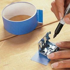 DIY Tip of the Day: Marking Pilot Holes for Mounting Brackets. Marking the pilot holes for miniblind or other small brackets is painstaking work. Here's an easier way. Transfer the pilot holes to a piece of tape, and stick the tape where the bracket is to be fastened. Drill the pilot holes and mount your brackets.