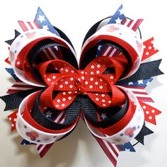 Labor Day Patriotic Red White Navy Blue Minnie Mouse Stacked Boutique Hair Bow
