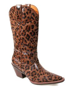 Look what I found on #zulily! Brown Leopard Sunline Cowboy Boot #zulilyfinds...if there was ever a cowboy boot I was supposed to have I think it would be these.  Pulling. Them. Off.