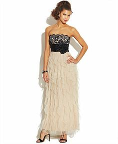 Roberta Juniors Dress, Strapless Ruffled Lace