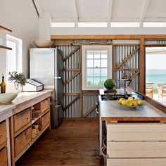 Coastal Kitchen with Corrugated Metal   Home of Architect Peter Mamacos on Laquered Life