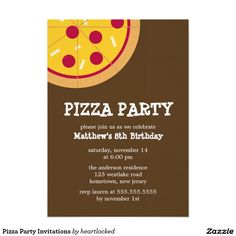 Pizza Party Invitation - customizable