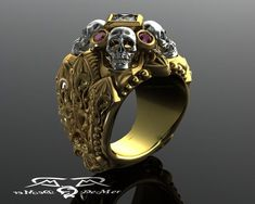 Steampunk - Gothic skull and reliquary memento mori mens ring in solid gold with princess cut diamond and natural marsala ruby cathedral rockstar. by DeMerJewelry Skull Jewelry, Gothic Jewelry, Men's Jewelry, Memento Mori, Estilo Cool, Conflict Free Diamonds, Princess Cut Diamonds, Celtic, Piercings